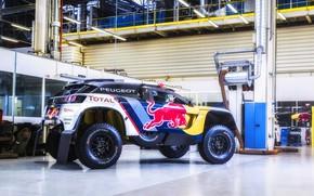 Picture Machine, Speed, Peugeot, Garage, Red Bull, Rally, Dakar, Dakar, SUV, Rally, Sport, DKR, 3008, Peugeot …