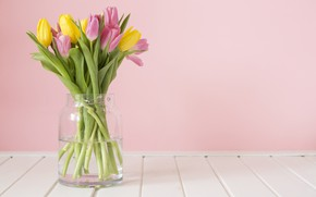 Wallpaper vase, pink tulips, table, yellow tulips, pink background, spring, tulips