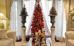 Wallpaper sofa, holiday, lamp, tree, candles, New Year, Christmas, vase, table, living room
