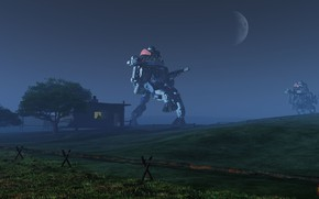 Picture night, house, planet, robots, The Farmer