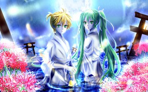 Picture girl, flowers, anime, art, guy, Vocaloid, Vocaloid, characters