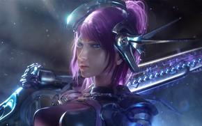 Picture girl, weapon, warrior, oppai, purple hair, bishojo, japonese, macha