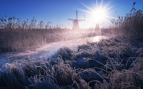 Picture frost, grass, stream, mill