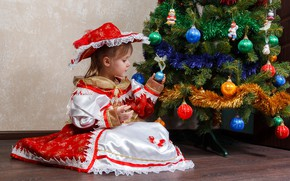 Picture mood, balls, tree, new year, child, dress, girl, decoration
