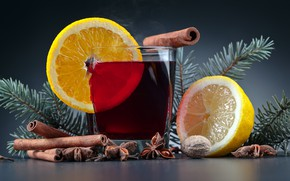 Picture glass, background, holiday, lemon, new year, Christmas, walnut, drink, cinnamon, star anise, pine branches, star …