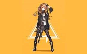 Picture girl, anime, art, yellow background, Girls Frontline, Girls front