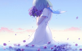Picture bouquet, petals, collar, girl, violet, blue sky, pink clouds, sailor, standing in the water, lluluchwan