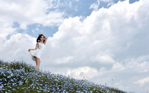 Picture field, summer, the sky, dress, Asian