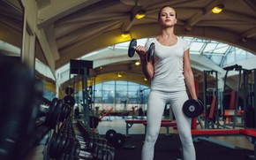 Picture Girl, Sport, Dumbbells, Exercise, The gym, Lesson