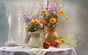 Picture summer, bouquet, pitcher, nectarine