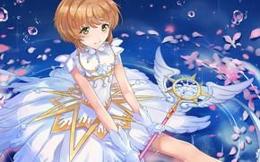 Picture look, water, bubbles, wings, angel, girl, Card Captor Sakura, Sakura - collector cards