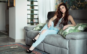 Picture face, room, sofa, model, hair, Elena