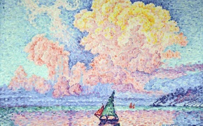 Picture sea, landscape, boat, picture, sail, Paul Signac, pointillism, Pink Cloud. Antibes