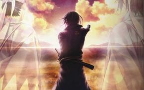 Picture clouds, dawn, back, horizon, shadows, friends, gesture, art, demons pale cherry, hakuouki shinsengumi kitano, yone …