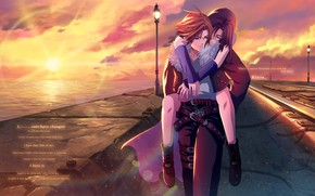 Picture girl, sunset, guy, two, Final Fantasy VIII