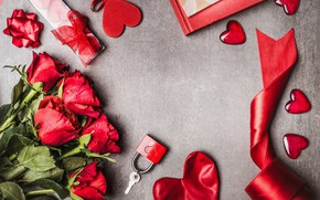 Picture love, flowers, roses, bouquet, hearts, red, red, love, wood, flowers, romantic, hearts, Valentine's Day, gift, ...