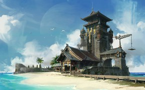 Picture sea, shore, the building, architecture, Beach and Chinese style architecture