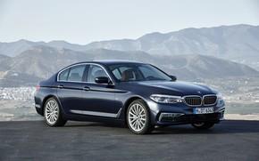 Picture asphalt, mountains, BMW, sedan, xDrive, 530d, Luxury Line, 5, dark blue, four-door, 2017, 5-series, G30
