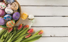 Picture Spring, Tulips, Easter, Eggs, Basket, Holiday