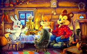 Picture watch, hare, bear, the tea party, samovar, squirrel