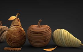 Wallpaper fruit, caterpillar, wooden figures