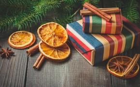 Picture decoration, tree, orange, New Year, Christmas, gifts, cinnamon, happy, Christmas, vintage, wood, orange, New Year, …