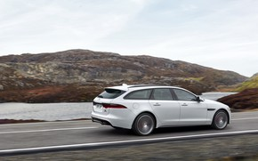 Picture road, white, landscape, movement, Jaguar, pond, universal, XF Sportbrake 25d AWD
