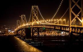 Wallpaper the city, bridge, night, lights