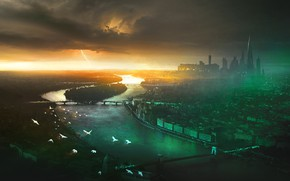 Picture the storm, the sky, clouds, bridge, the city, river, tower, art