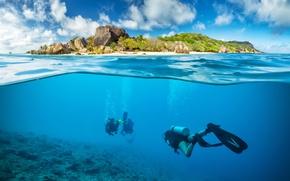 Wallpaper divers, landscape, scuba, travel, underwater world, corals, wetsuit, blur, diving, bokeh wallpaper., diving, island, the ...