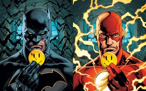 Picture batman, zipper, icon, Batman, cave, bats, smiley, the flash, DC Comics, flash