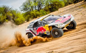 Picture Sand, Sport, Speed, Race, Peugeot, Lights, Red Bull, Rally, Dakar, Rally, Sport, The front, Dune, …