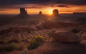 Wallpaper USA, mountains, rocks, Monument valley, the sun
