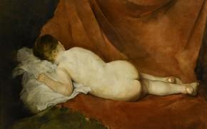 Picture girl, pillow, brown fabric, Charles Joshua Chaplin, Reclining Nude