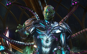 Picture game, man, evil, cyborg, bald, Injustice 2, Brainiac