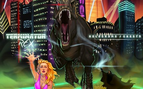 Picture rays, the city, woman, building, dinosaur, ghosts, holograms, terminator rex