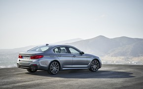 Picture the sky, mountains, grey, BMW, back, sedan, side view, Playground, 540i, 5, M Sport, four-door, …