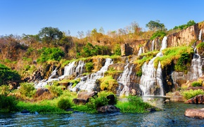 Wallpaper the sky, trees, stones, waterfall, Vietnam, Sunny, cascade, the bushes, thresholds, Pongour waterfall