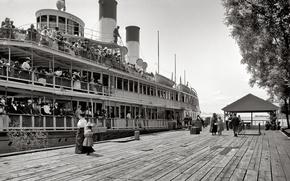 Picture retro, ship, pier, steamer, USA, 1900-the year