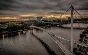 Picture bridge, river, Amsterdam, support, panorama, Netherlands
