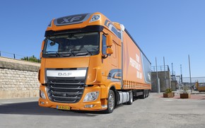 Picture orange, wall, Parking, DAF, tractor, DAF, Super Space Cab, the trailer, 4x2, Euro6, Low Deck, ...