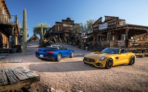 Picture Mercedes, western, saloon, cactus, old west, Mercedes AMG GT, rustic environment