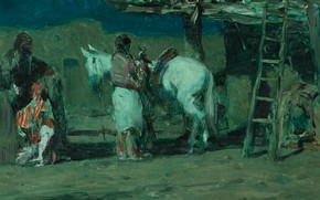 Picture ladder, Parking, Oscar Edmund Berninghaus, The Corner In The Pueblo