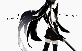 Picture girl, anime, brunette, art, House no Kuni