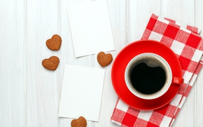 Picture comfort, coffee, cookies, minimalistic red