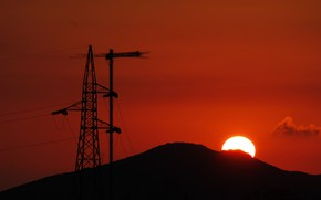 Picture the sky, the sun, sunset, wire, tower