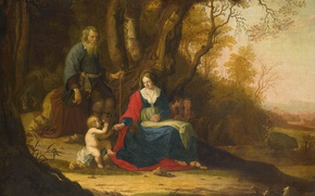 Picture oil, picture, canvas, mythology, Rest on the flight into Egypt, Paulus van Vianen II