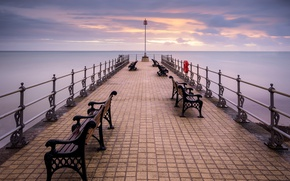 Picture sea, clouds, pierce, bench