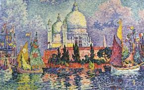 Picture picture, the urban landscape, Paul Signac, pointillism, Venice. Santa Maria della Salute