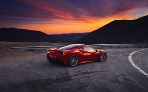 Wallpaper sunset, GTB, the sky, the evening, 488, Ferrari, mountains, red